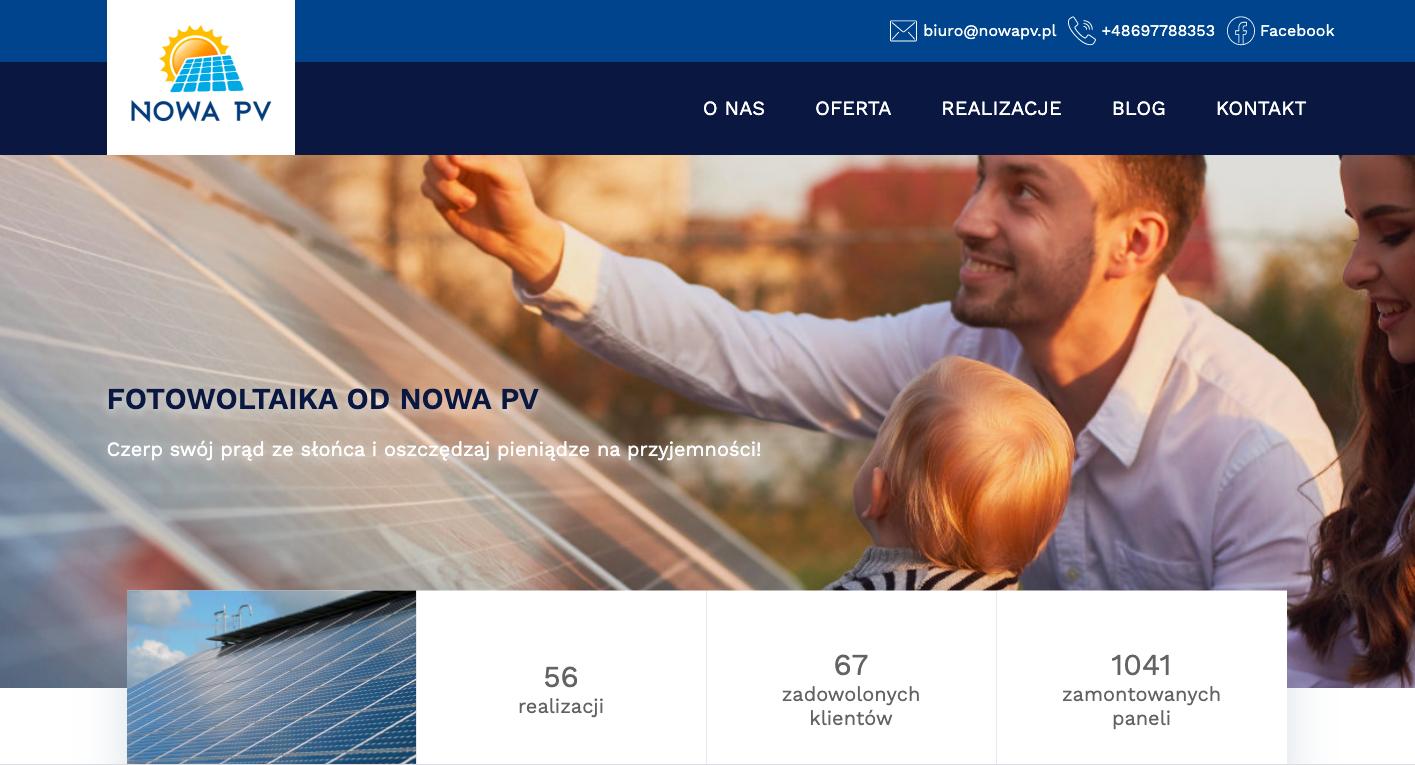 Realizacja strony www dla firmy Nowa PV